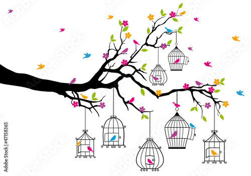 Poster Birds in cages tree with birds and birdcages, vector