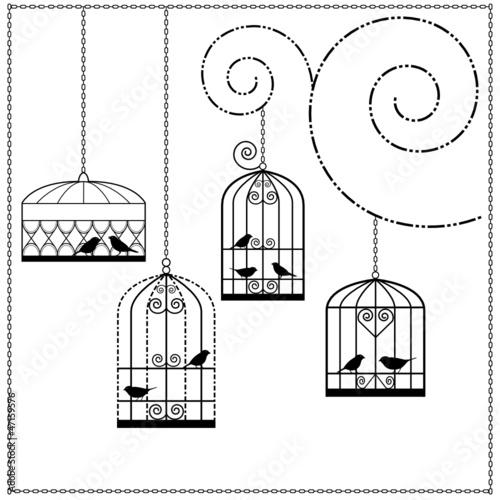 Foto op Canvas Vogels in kooien vögel im käfig