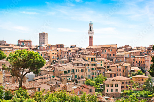 Leinwand Poster Medieval city of Siena in Tuscany, Italy