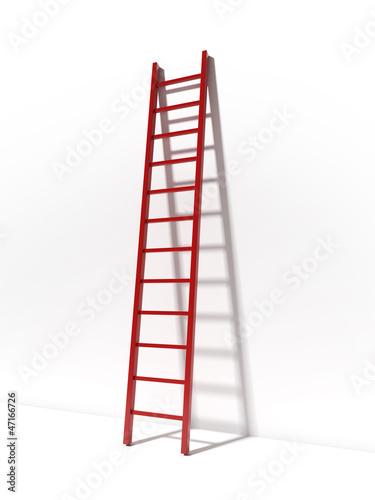 Foto op Plexiglas Trappen Red ladder near white wall