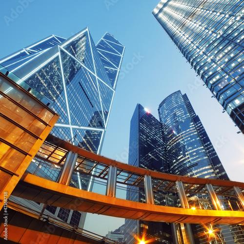Nowoczesny obraz na płótnie Modern office buildings in Central Hong Kong.