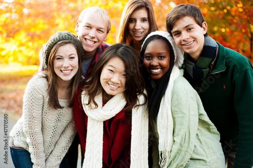 Fotografie, Tablou  Diverse group of friends together