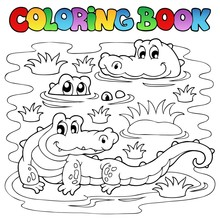 Coloring Book Crocodile Image 1