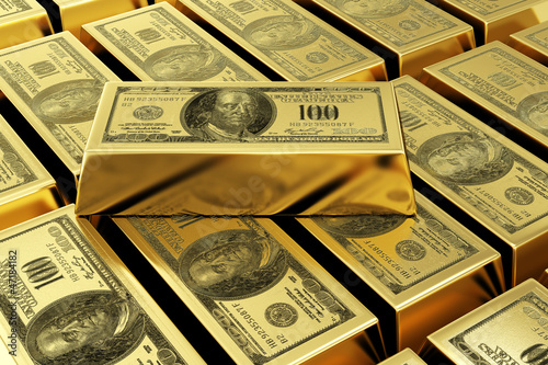 Papiers peints Affiche vintage gold bars with dollar stamp