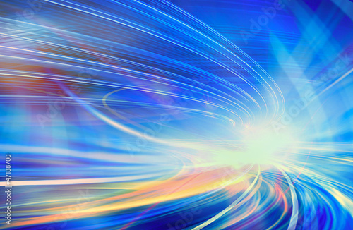 obraz PCV Abstract speed motion in urban highway road tunnel, blurred motion toward the light. Computer generated colorful illustration. Light trails, fiber optics technology background.