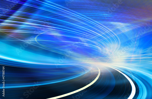 fototapeta na drzwi i meble Abstract motion technology background illustration, blue curved shapes of fiber optics trails
