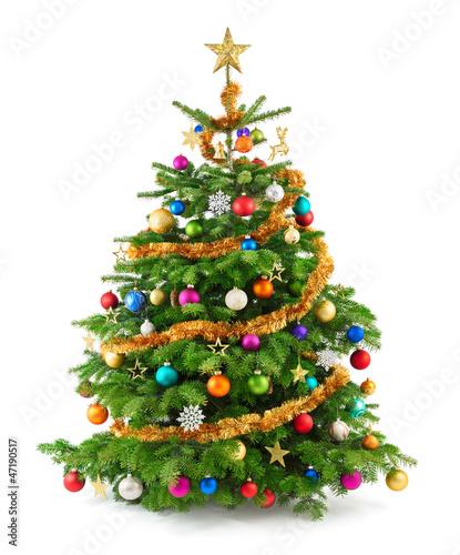 Foto-Tapete - Dichter, bunt geschmückter Weihnachtsbaum (von Smileus)