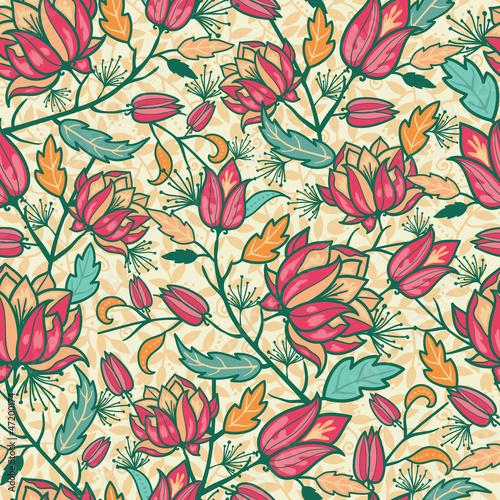 wektorowi-kolorowi-kwiaty-i-liscie-elegancki-bezszwowy-wzor