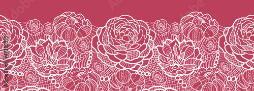 Valokuva Vector red lace flowers elegant horizontal seamless pattern