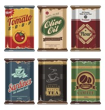 Retro Food Cans Vector Collect...