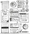 Hand drawn vector set of user interface design elements