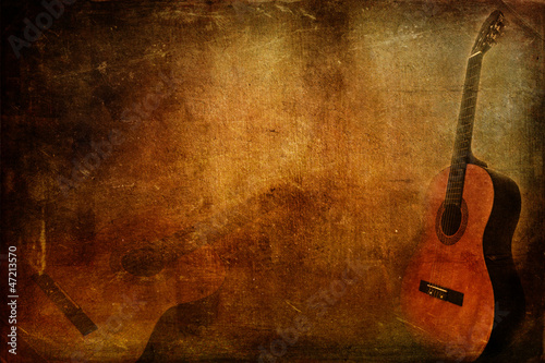 Fotografiet  Grunge background guitar