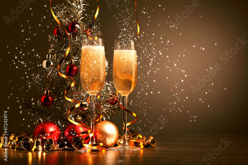 Photo  Glasses of champagne at new year party