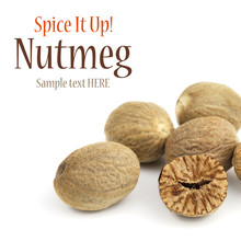 Close Up Of Nutmeg Fruits On White Background With Sample Text
