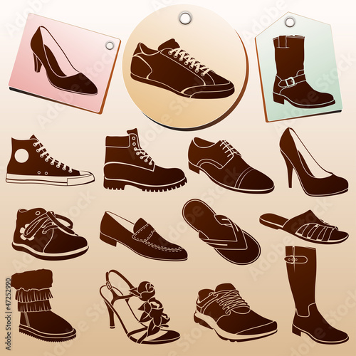Fotografia  Different Shoes Icons with Labels