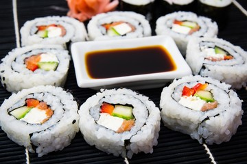 FototapetaSushi set with soy sauce