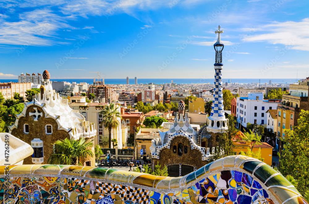 Fényképezés  Park Guell in Barcelona, Spain