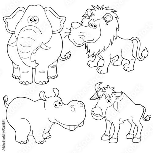 Tuinposter Doe het zelf illustration of Wild animals cartoons outline