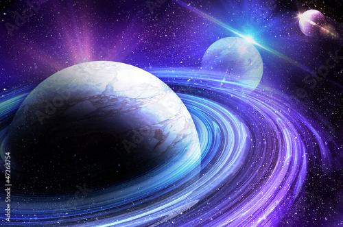 Naklejki kosmos planeta-z-wschodem-slonca-na-tle-gwiazd