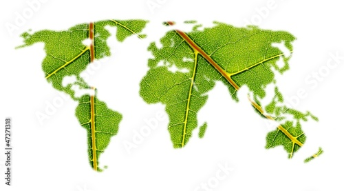 Photo sur Aluminium Carte du monde world map with leaf texture