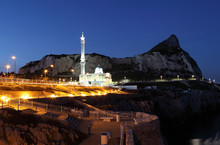 Mosque At The Europa Point In Gibraltar At Night