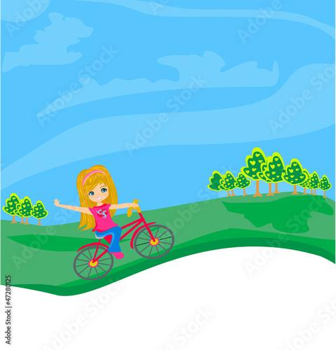 Spoed Foto op Canvas Vliegtuigen, ballon little girl riding a bicycle
