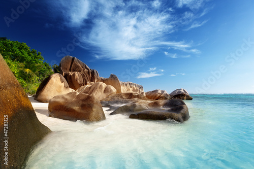 Motiv-Rollo Basic - sunset on the beach, Anse Source d'Argent, La Digue island, Seys
