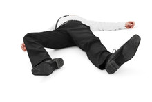 Businessman Laying Down On White Background