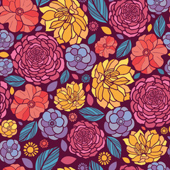 Panel SzklanyVector colorful abstract summer flowers elegant seamless pattern