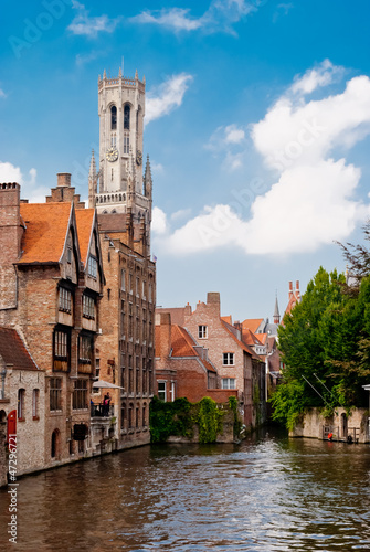 Poster Brugge Rozenhoedkaai (Quai of the Rosary), and Belfry Tower, Bruges