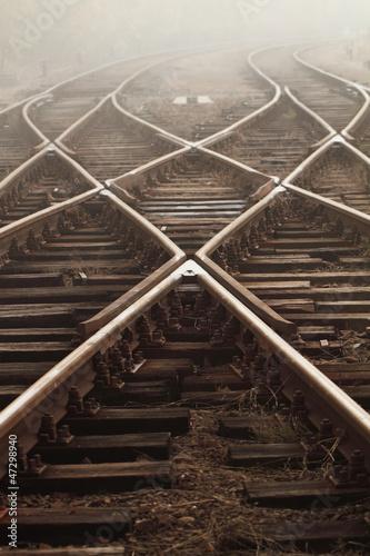 Aluminium Prints Railroad Railway in fog