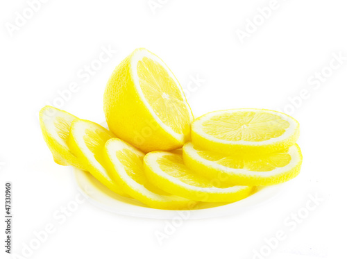 Aluminium Prints Slices of fruit Fresh lemon fruit sliced on white background