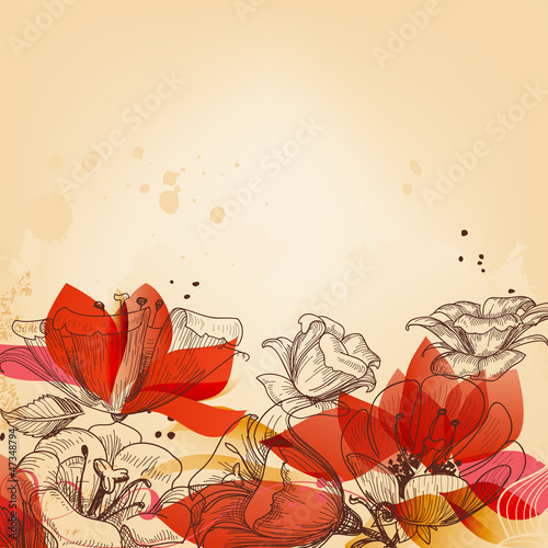 Cadres-photo bureau Fleurs abstraites Vintage floral card, abstract red flowers vector