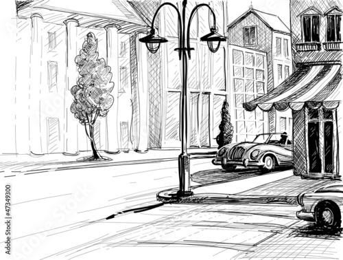 miasto-retro-szkic-ulica-budynki-i-stary-samochod-wektor-ilustr