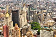New York Manhattan Streets Bird View