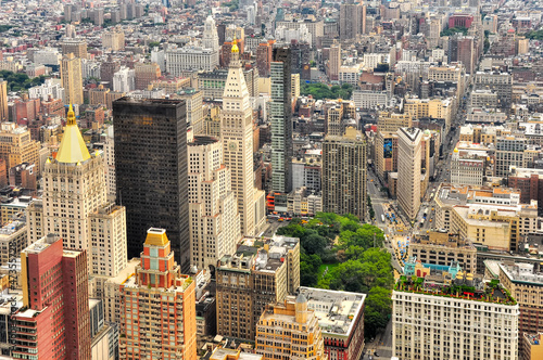 Deurstickers New York New York Manhattan streets bird view