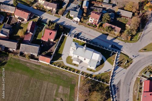 aerial view of church in Michalow village © mariusz szczygieł