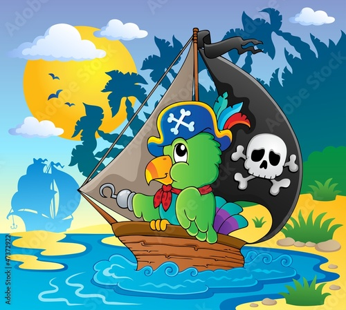 Photo Stands Pirates Image with pirate parrot theme 2