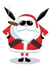 Santa With Ammunition, Cigar And Sunglasses. Vector