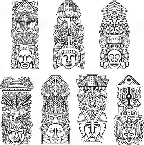 Aztec totem poles Wall mural