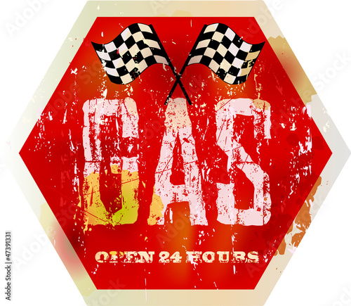 vintage gas station sign, grungy vector illustration