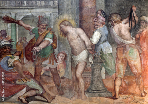 Rome - freco of Flagellation of Christ from Santa Prassede