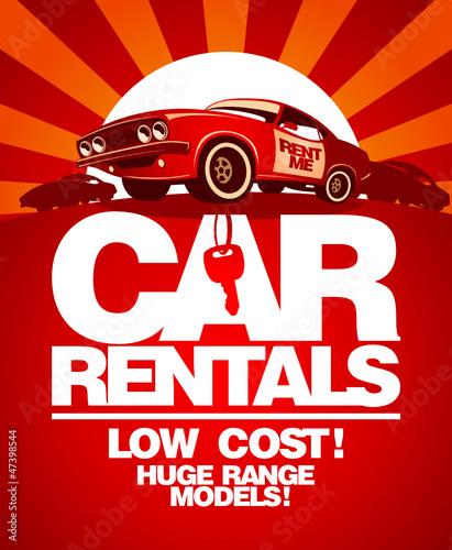 Papiers peints Affiche vintage Car rentals design template