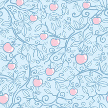 Vector Apple Tree Seamless Pat...