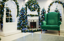Christmas Living Room With Fir...