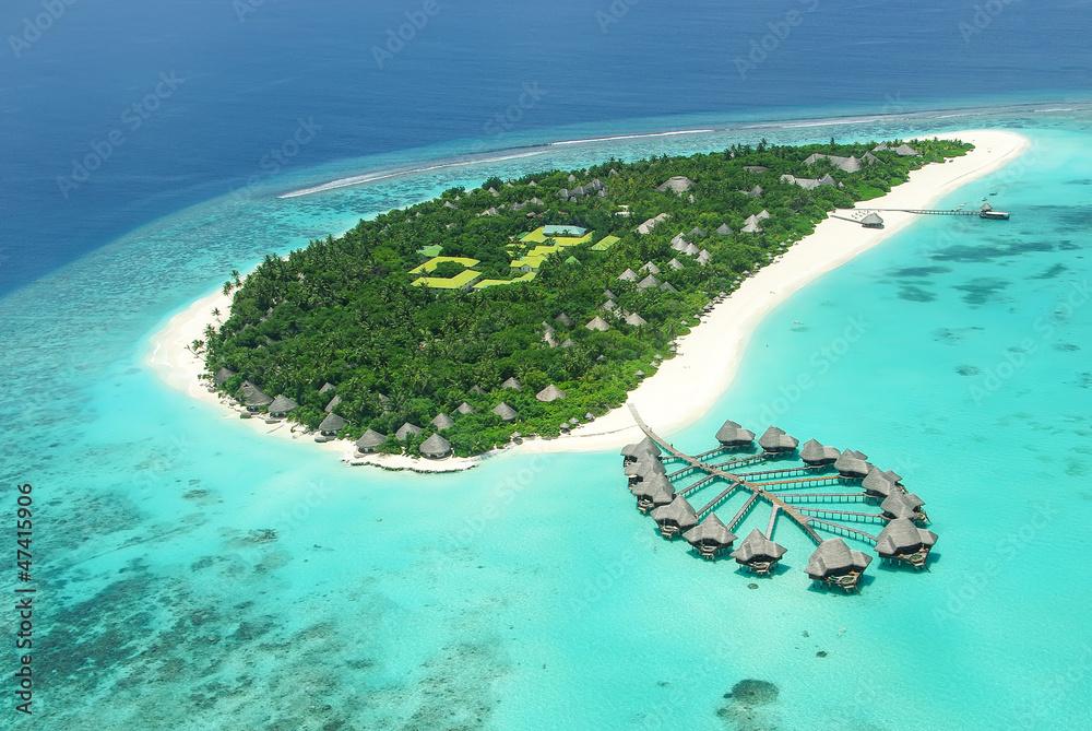 Fototapeta Tropical island in Indian ocean Maldives