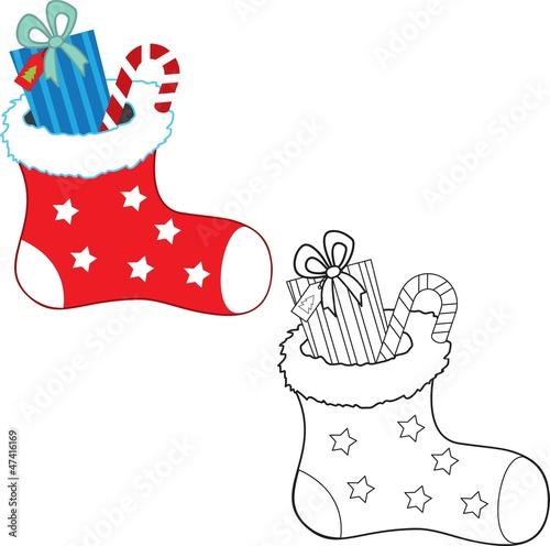Türaufkleber Zum Malen Christmas gifts. Coloring book. Vector illustration