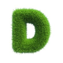 Grass Letter D Isolated On Whi...