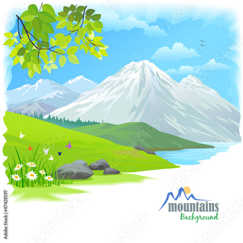 Fotobehang Wit Snow Mountain and Green Hills