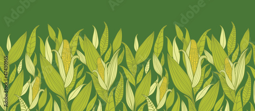 Vászonkép Vector corn plants horizontal seamless pattern ornament